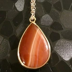 Jewelry - Gold Wrapped Red♥️ Stripes Onyx Agate